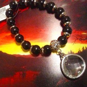 Beaded Stretch Bracelet with  Faceted Charm